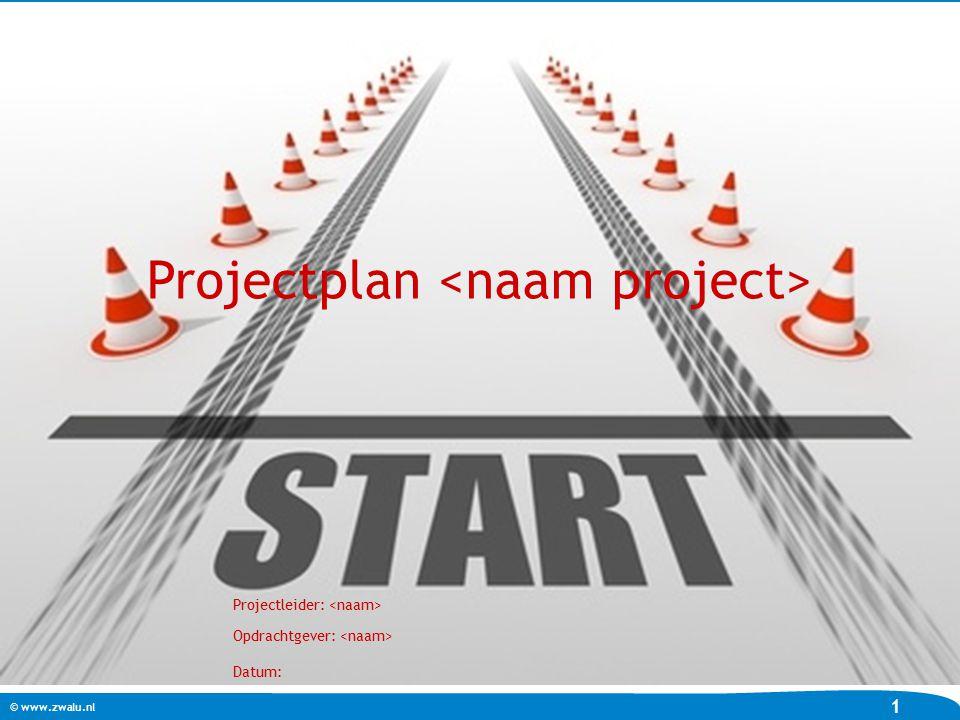 © www.zwalu.nl 1 Projectplan Projectleider: Opdrachtgever: Datum: