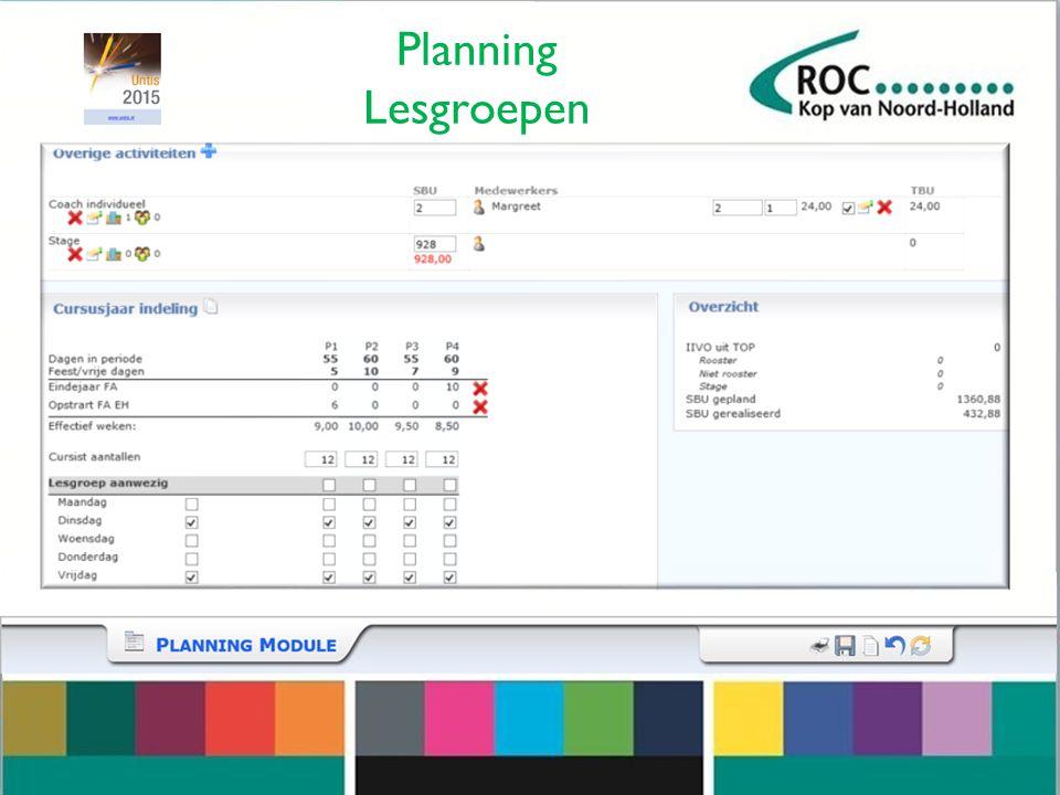 Planning Lesgroepen