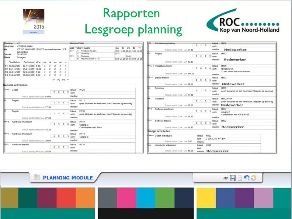 Rapporten Lesgroep planning