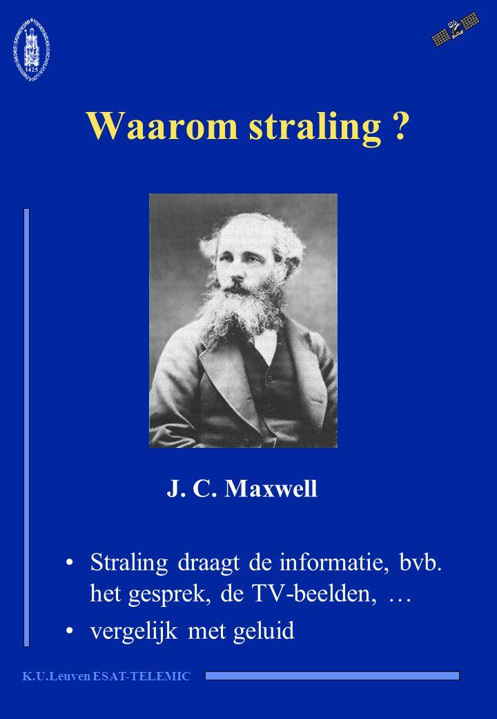 K.U.Leuven ESAT-TELEMIC Waarom straling ? Straling draagt de informatie, bvb. het gesprek, de TV-beelden, … vergelijk met geluid J. C. Maxwell