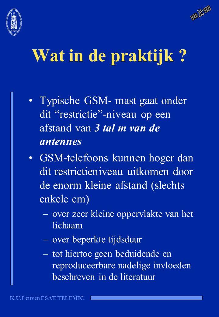 """K.U.Leuven ESAT-TELEMIC Wat in de praktijk ? Typische GSM- mast gaat onder dit """"restrictie""""-niveau op een afstand van 3 tal m van de antennes GSM-tele"""