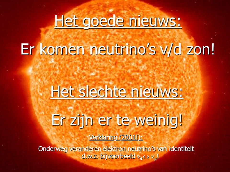 42 Het goede nieuws: Er komen neutrino's v/d zon.Het slechte nieuws: Er zijn er te weinig.