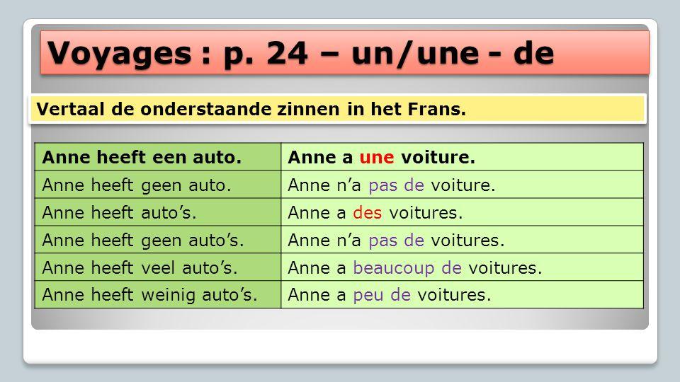Voyages : p. 24 – un/une - de Anne heeft een auto.Anne a une voiture. Anne heeft geen auto.Anne n'a pas de voiture. Anne heeft auto's.Anne a des voitu