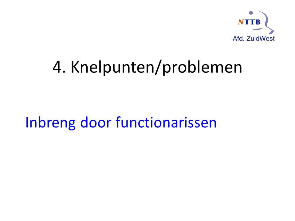 4. Knelpunten/problemen Inbreng door functionarissen