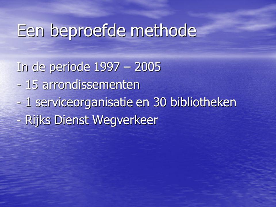 Een beproefde methode In de periode 1997 – 2005 - 15 arrondissementen - 1 serviceorganisatie en 30 bibliotheken - Rijks Dienst Wegverkeer