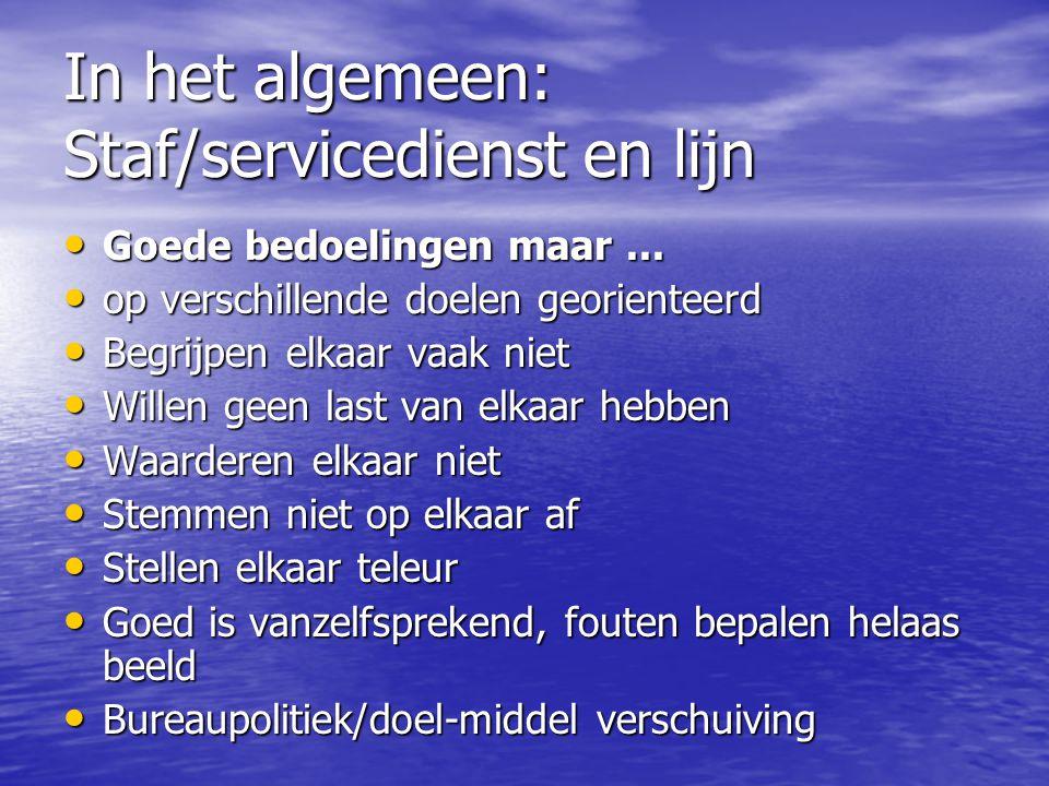 In het algemeen: Staf/servicedienst en lijn Goede bedoelingen maar...