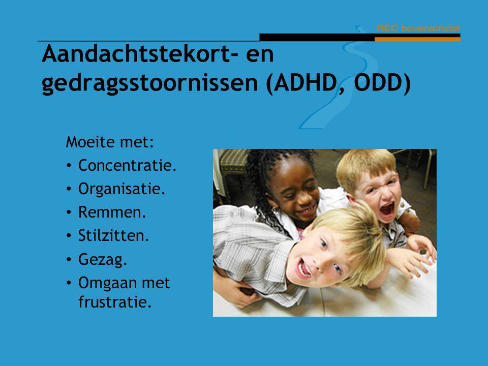 Aandachtstekort- en gedragsstoornissen (ADHD, ODD) Moeite met: Concentratie. Organisatie. Remmen. Stilzitten. Gezag. Omgaan met frustratie.