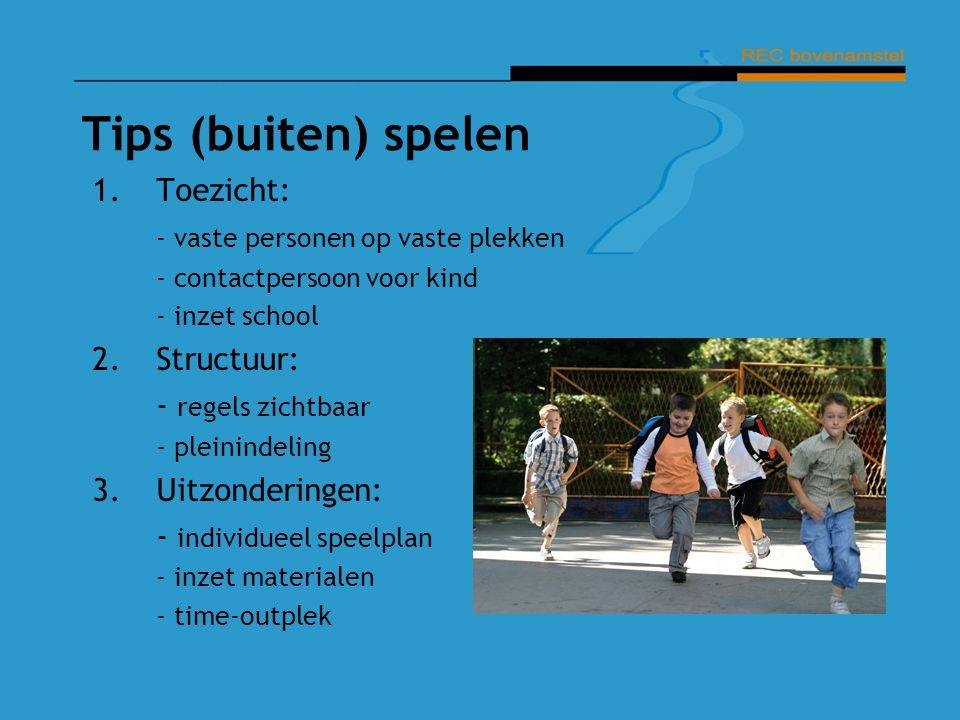 Tips (buiten) spelen 1.Toezicht: - vaste personen op vaste plekken - contactpersoon voor kind - inzet school 2.Structuur: - regels zichtbaar - pleinin