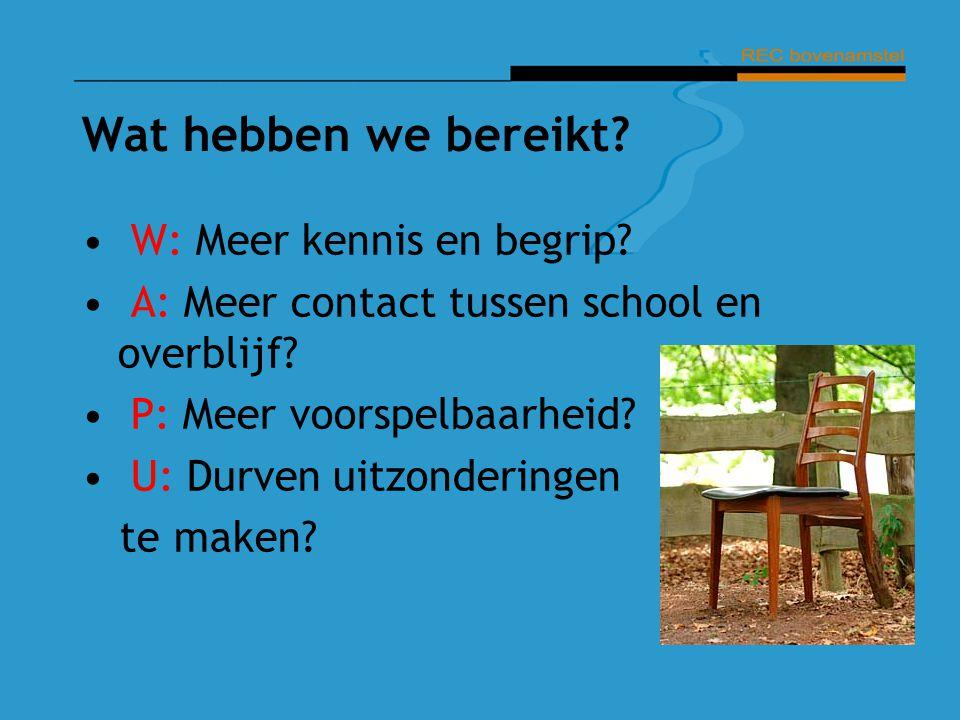 Wat hebben we bereikt? W: Meer kennis en begrip? A: Meer contact tussen school en overblijf? P: Meer voorspelbaarheid? U: Durven uitzonderingen te mak