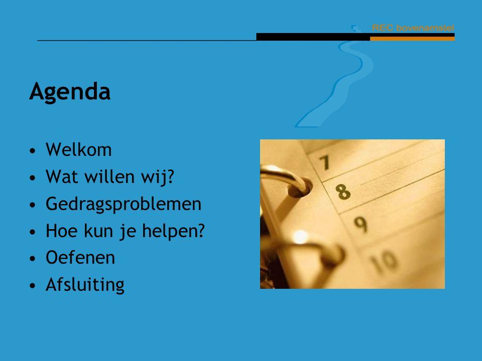 Agenda Welkom Wat willen wij? Gedragsproblemen Hoe kun je helpen? Oefenen Afsluiting