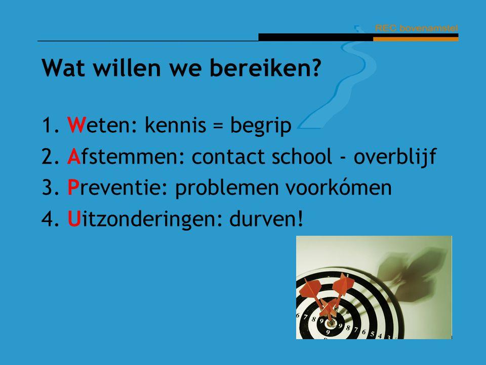 Wat willen we bereiken? 1. Weten: kennis = begrip 2. Afstemmen: contact school - overblijf 3. Preventie: problemen voorkómen 4. Uitzonderingen: durven