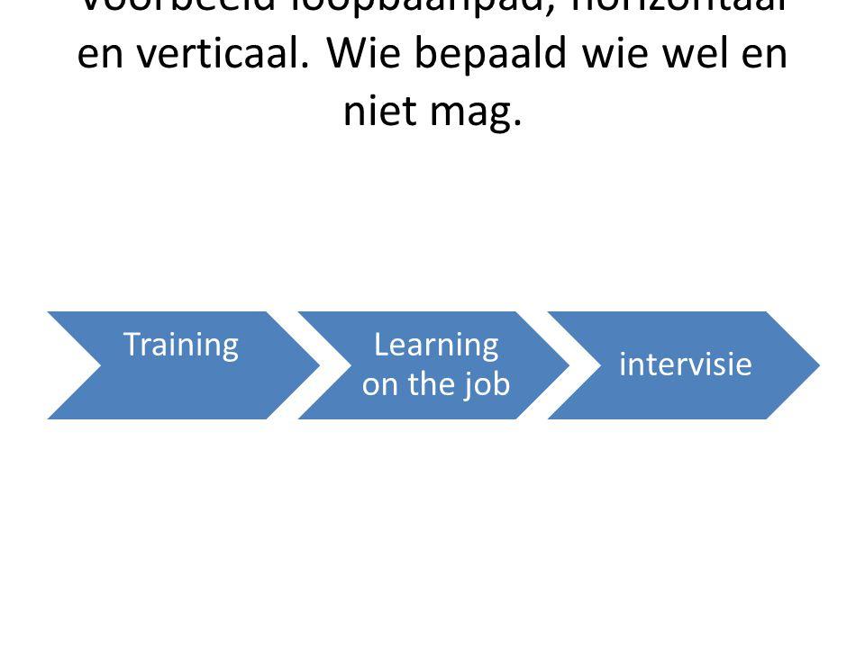 Voorbeeld loopbaanpad, horizontaal en verticaal. Wie bepaald wie wel en niet mag. TrainingLearning on the job intervisie