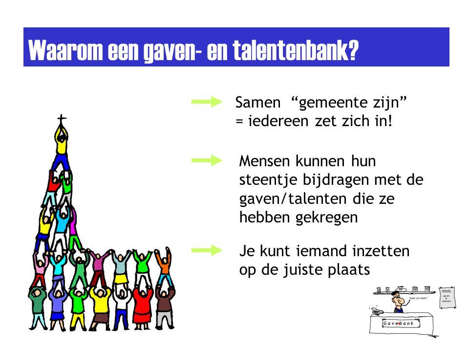 """Waarom een gaven- en talentenbank? Samen """"gemeente zijn"""" = iedereen zet zich in! Mensen kunnen hun steentje bijdragen met de gaven/talenten die ze heb"""