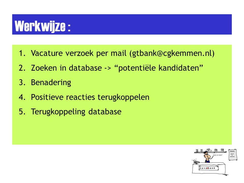 Aandachts punten : 1.Database up- to –date houden 2.Om de 3 jaar verversing 3.Vanaf 12 jaar 4.Nieuwe gemeenteleden