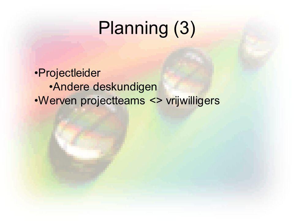 Planning (3) Projectleider Andere deskundigen Werven projectteams <> vrijwilligers