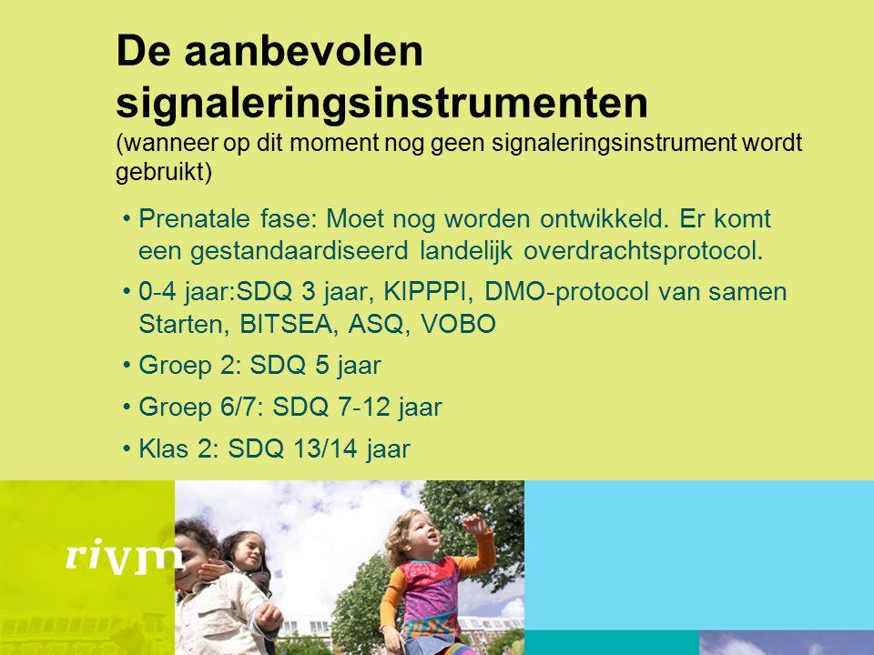 Randvoorwaarden Competente professionals Scholing gebruik signaleringsinstrumenten Samenwerkingsafspraken (o.a.