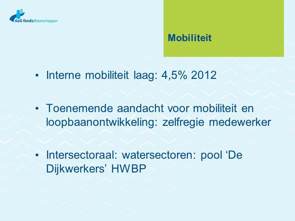 Mobiliteit Interne mobiliteit laag: 4,5% 2012 Toenemende aandacht voor mobiliteit en loopbaanontwikkeling: zelfregie medewerker Intersectoraal: watersectoren: pool 'De Dijkwerkers' HWBP