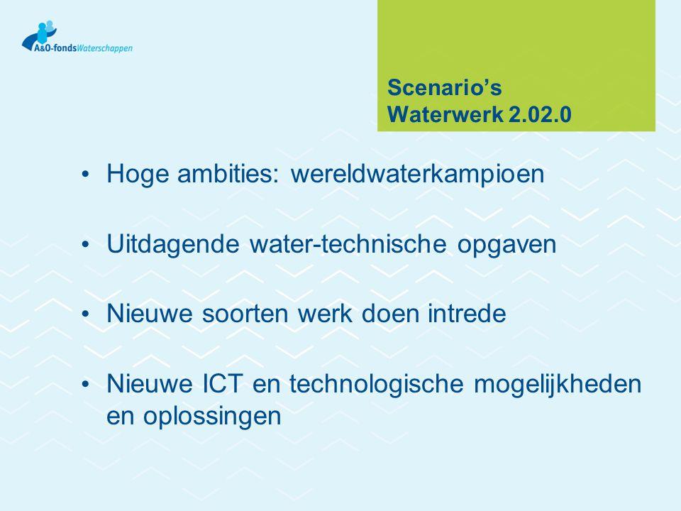 Scenario's Waterwerk 2.02.0 Hoge ambities: wereldwaterkampioen Uitdagende water-technische opgaven Nieuwe soorten werk doen intrede Nieuwe ICT en technologische mogelijkheden en oplossingen
