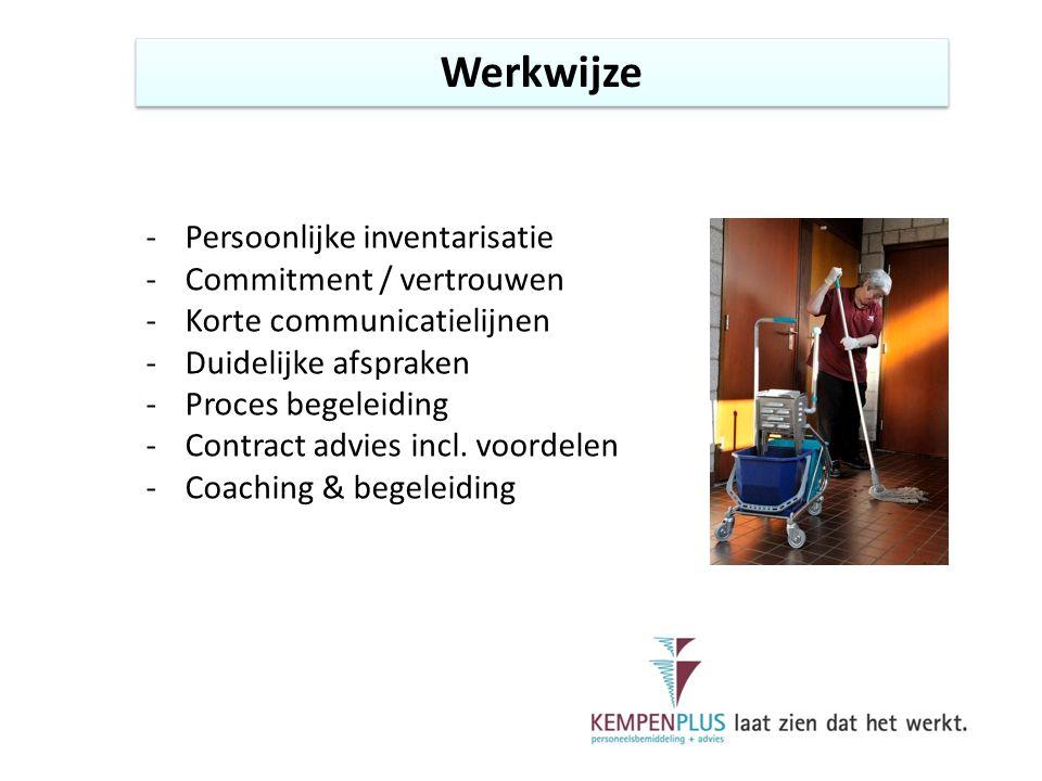 Werkwijze -Persoonlijke inventarisatie -Commitment / vertrouwen -Korte communicatielijnen -Duidelijke afspraken -Proces begeleiding -Contract advies incl.