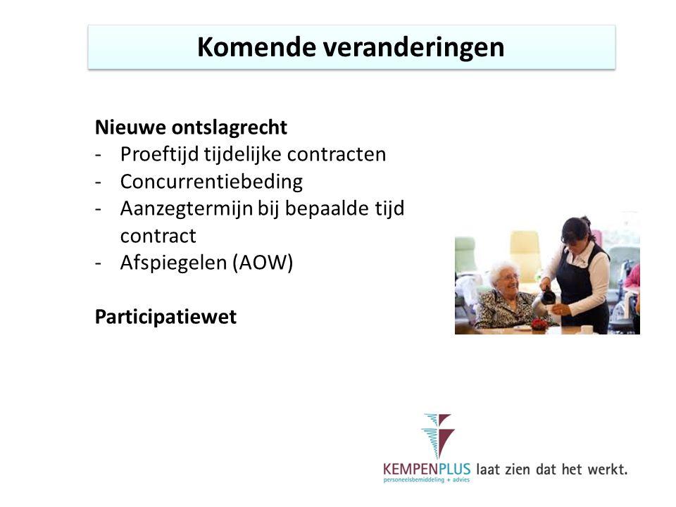 Komende veranderingen Nieuwe ontslagrecht -Proeftijd tijdelijke contracten -Concurrentiebeding -Aanzegtermijn bij bepaalde tijd contract -Afspiegelen (AOW) Participatiewet