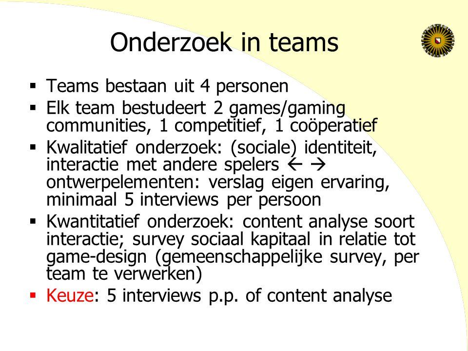 Onderzoek in teams  Teams bestaan uit 4 personen  Elk team bestudeert 2 games/gaming communities, 1 competitief, 1 coöperatief  Kwalitatief onderzo