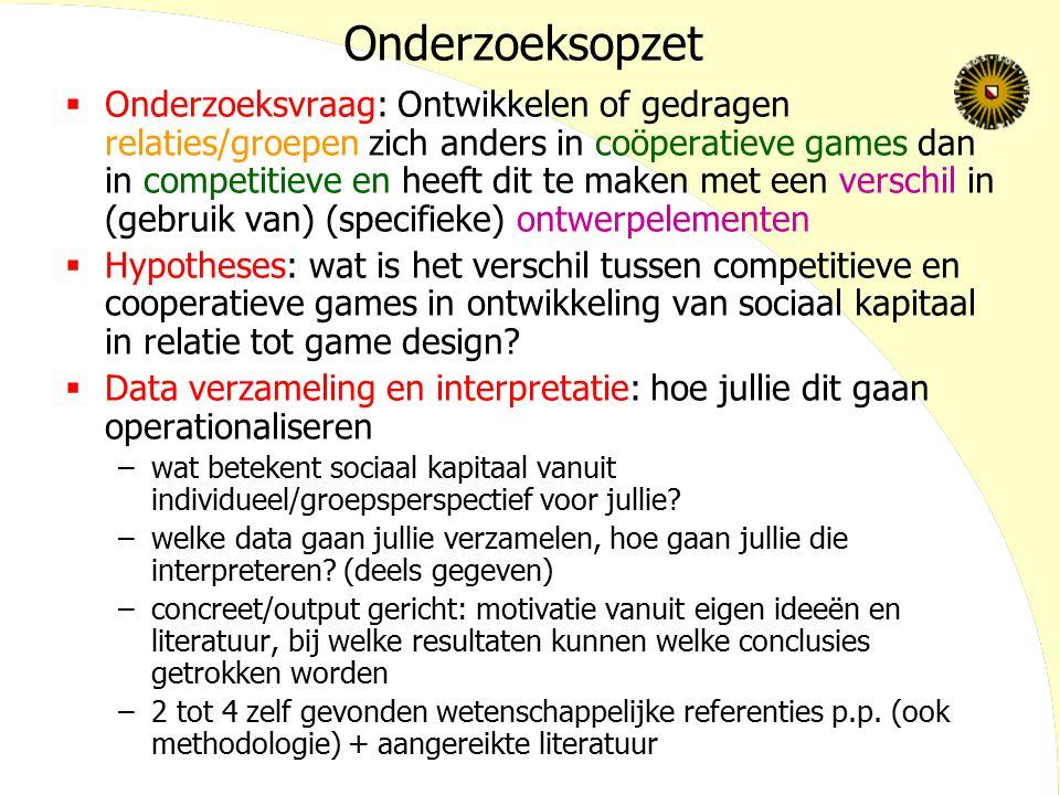 Onderzoeksopzet  Onderzoeksvraag: Ontwikkelen of gedragen relaties/groepen zich anders in coöperatieve games dan in competitieve en heeft dit te make