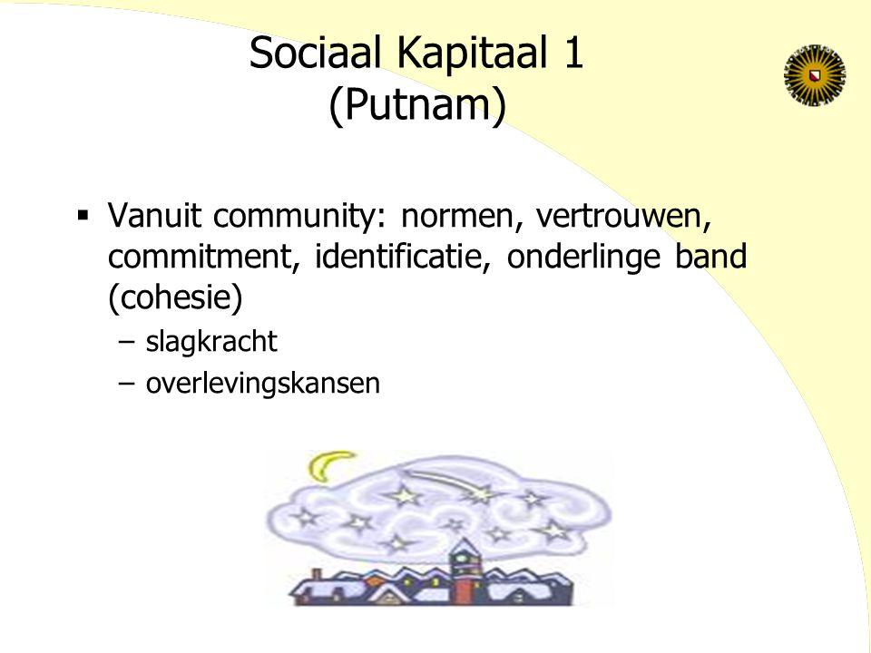 Sociaal Kapitaal 1 (Putnam)  Vanuit community: normen, vertrouwen, commitment, identificatie, onderlinge band (cohesie) –slagkracht –overlevingskanse