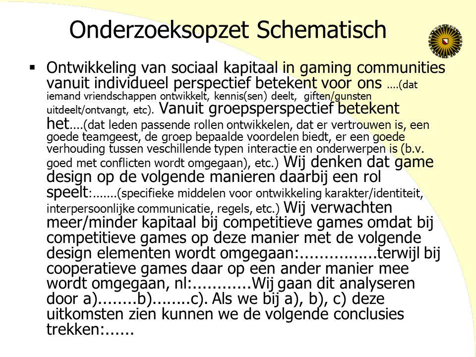 Onderzoeksopzet Schematisch  Ontwikkeling van sociaal kapitaal in gaming communities vanuit individueel perspectief betekent voor ons....(dat iemand