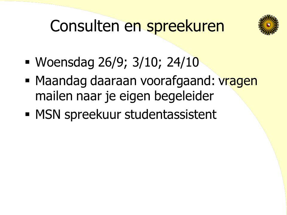 Consulten en spreekuren  Woensdag 26/9; 3/10; 24/10  Maandag daaraan voorafgaand: vragen mailen naar je eigen begeleider  MSN spreekuur studentassi