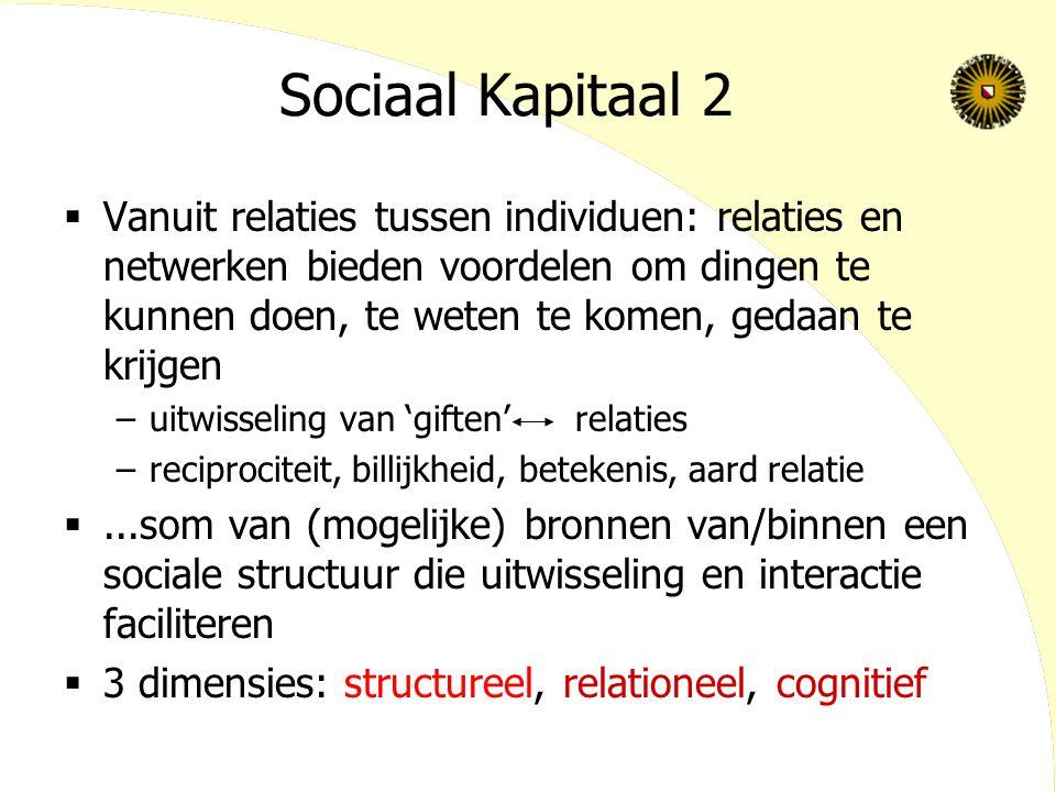 Sociaal Kapitaal 2  Vanuit relaties tussen individuen: relaties en netwerken bieden voordelen om dingen te kunnen doen, te weten te komen, gedaan te