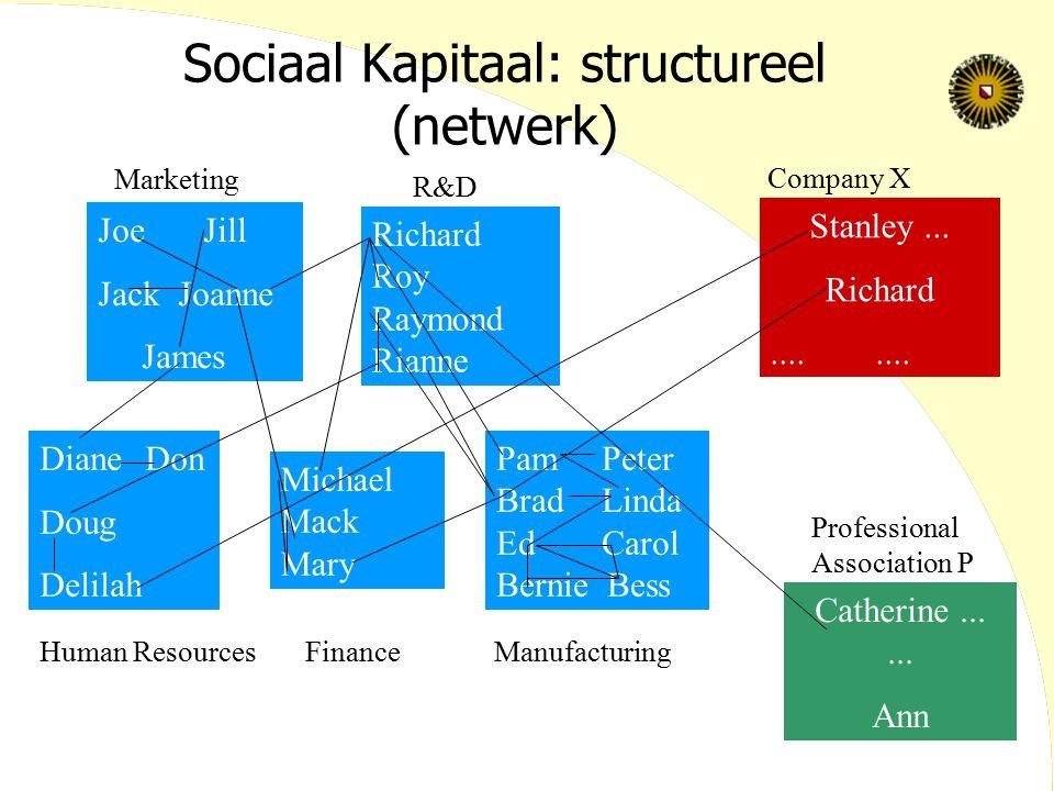 Sociaal Kapitaal: structureel (netwerk) JoeJill Jack Joanne James DianeDon Doug Delilah Richard Roy Raymond Rianne Michael Mack Mary Stanley... Richar