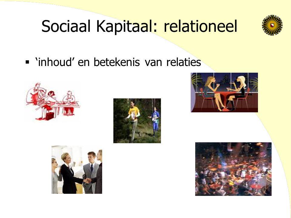 Sociaal Kapitaal: cognitief  Gedeelde betekenissen en interpretaties