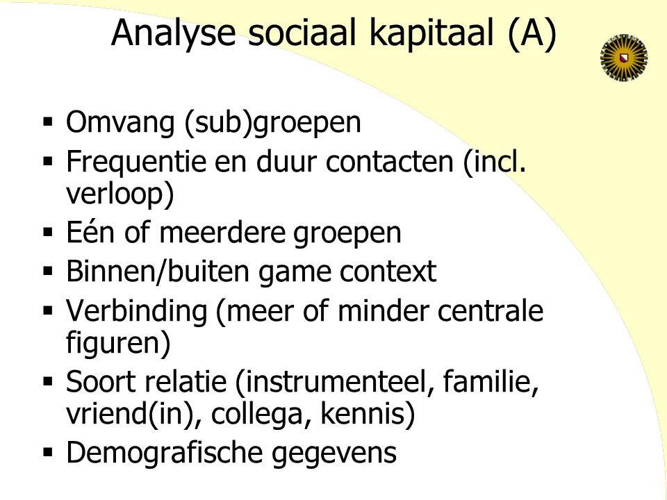 Analyse sociaal kapitaal (A)  Omvang (sub)groepen  Frequentie en duur contacten (incl. verloop)  Eén of meerdere groepen  Binnen/buiten game conte