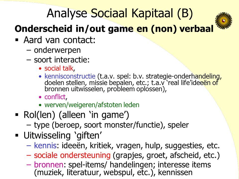 Analyse Sociaal Kapitaal (B) Onderscheid in/out game en (non) verbaal  Aard van contact: –onderwerpen –soort interactie: social talk, kennisconstruct