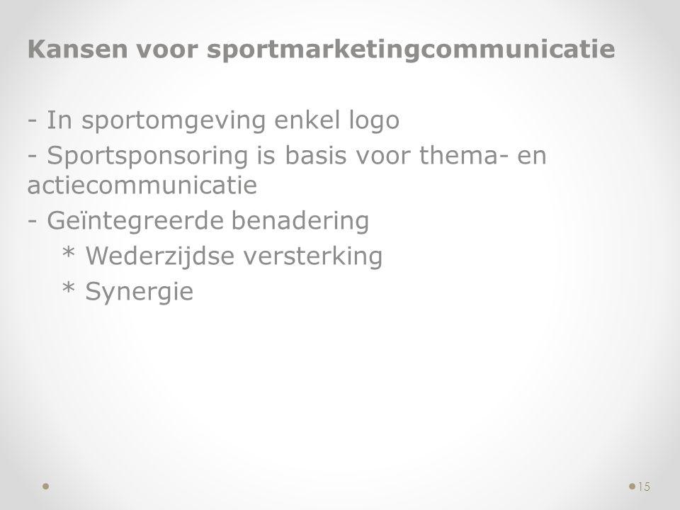 Kansen voor sportmarketingcommunicatie - In sportomgeving enkel logo - Sportsponsoring is basis voor thema- en actiecommunicatie - Geïntegreerde benad