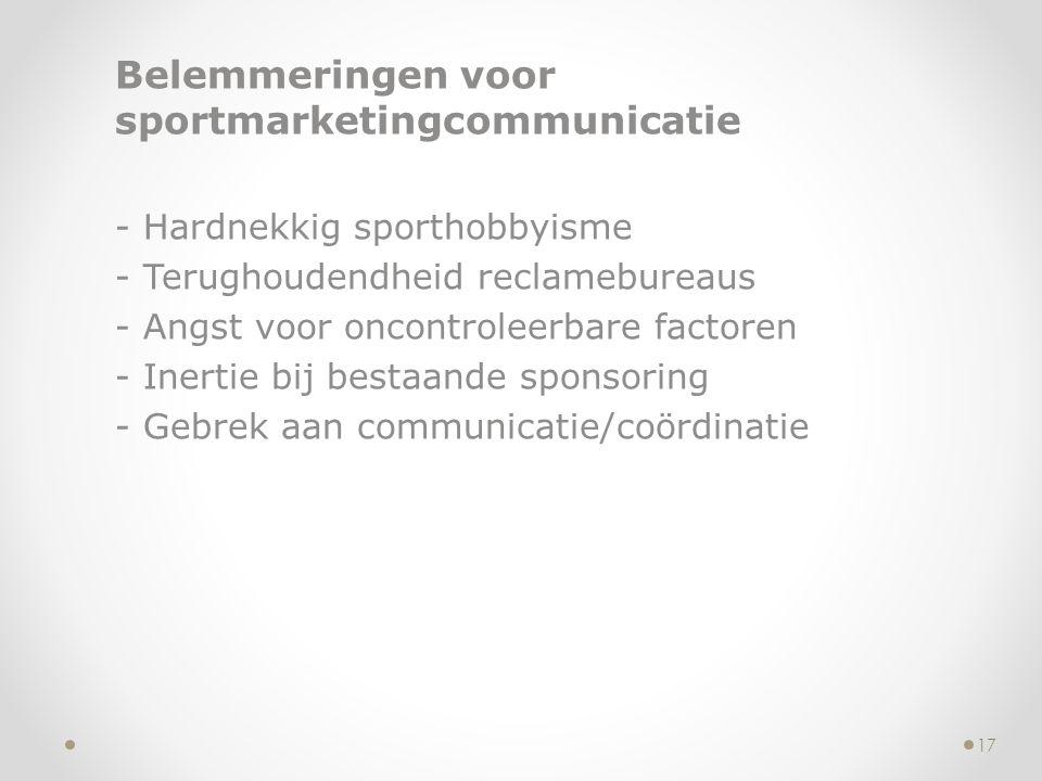 Belemmeringen voor sportmarketingcommunicatie - Hardnekkig sporthobbyisme - Terughoudendheid reclamebureaus - Angst voor oncontroleerbare factoren - I