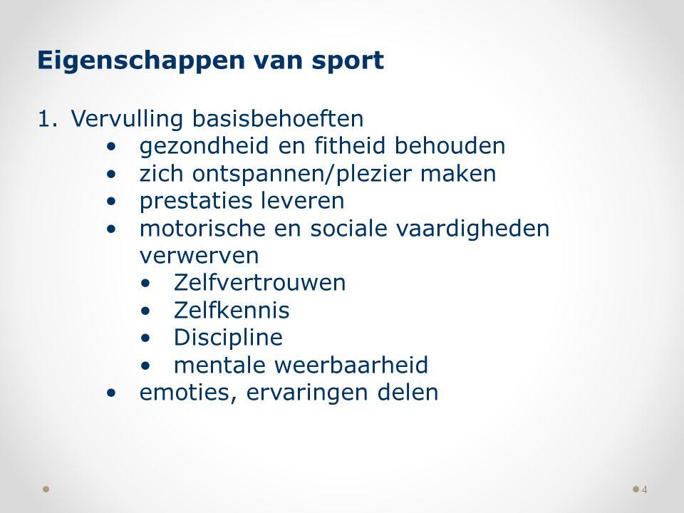 4 Eigenschappen van sport 1.Vervulling basisbehoeften gezondheid en fitheid behouden zich ontspannen/plezier maken prestaties leveren motorische en so