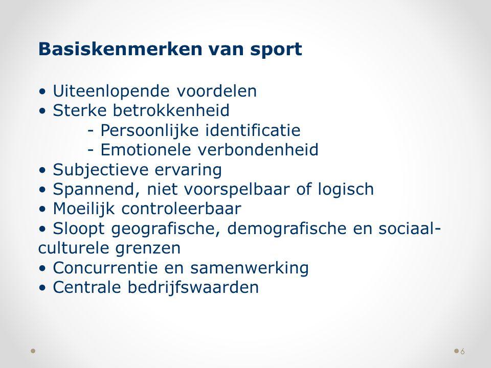 6 Basiskenmerken van sport Uiteenlopende voordelen Sterke betrokkenheid - Persoonlijke identificatie - Emotionele verbondenheid Subjectieve ervaring S