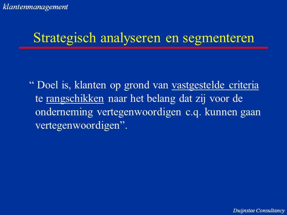 Strategisch analyseren en segmenteren Doel is, klanten op grond van vastgestelde criteria te rangschikken naar het belang dat zij voor de onderneming vertegenwoordigen c.q.
