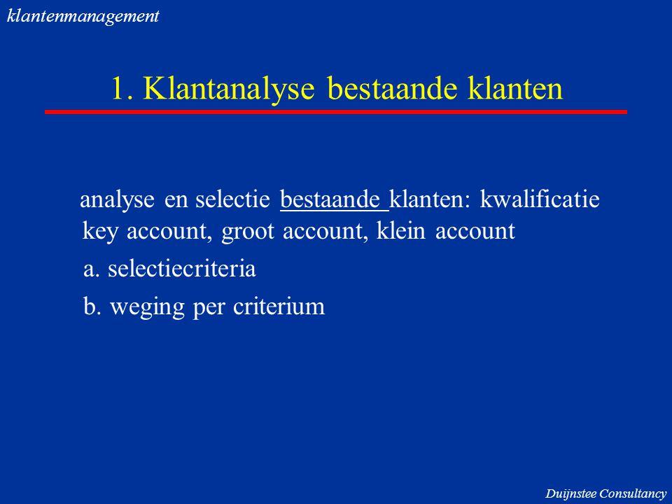 1. Klantanalyse bestaande klanten analyse en selectie bestaande klanten: kwalificatie key account, groot account, klein account a. selectiecriteria b.
