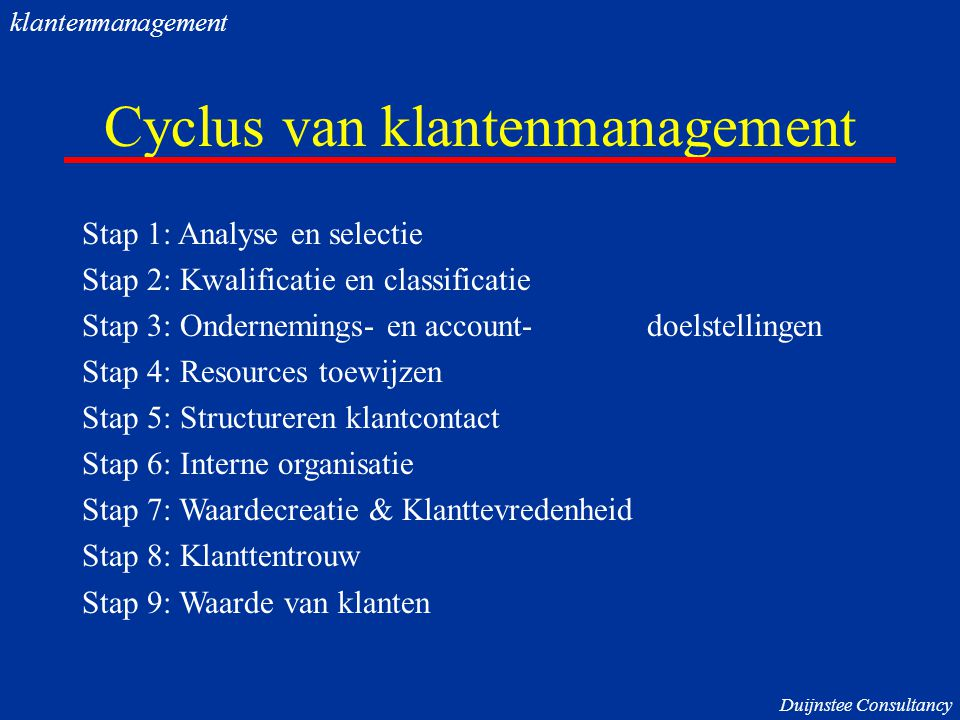 Cyclus van klantenmanagement Stap 1: Analyse en selectie Stap 2: Kwalificatie en classificatie Stap 3: Ondernemings- en account- doelstellingen Stap 4: Resources toewijzen Stap 5: Structureren klantcontact Stap 6: Interne organisatie Stap 7: Waardecreatie & Klanttevredenheid Stap 8: Klanttentrouw Stap 9: Waarde van klanten Duijnstee Consultancy klantenmanagement