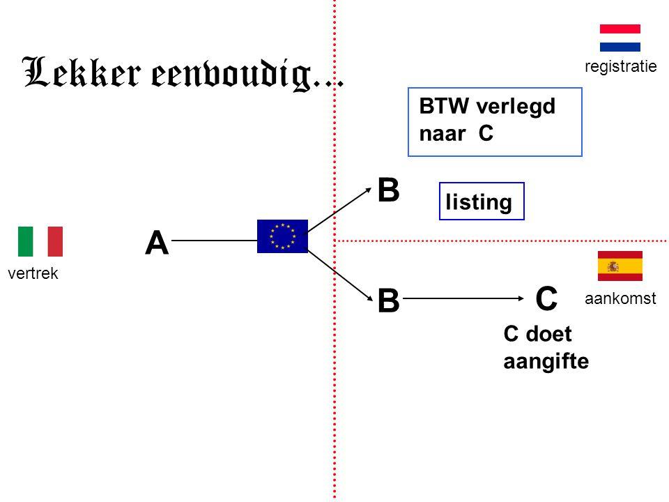B A B vertrek aankomst registratie Lekker eenvoudig... C BTW verlegd naar C listing C doet aangifte