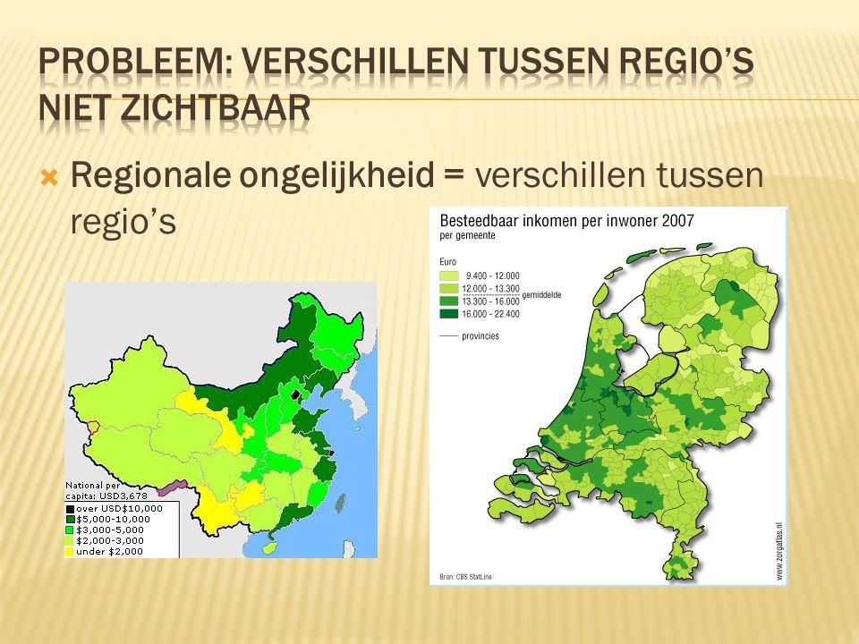  Regionale ongelijkheid = verschillen tussen regio's
