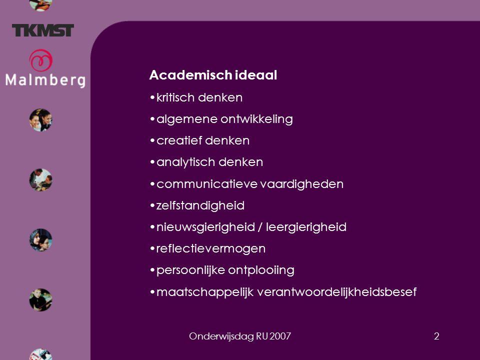 Onderwijsdag RU 20072 Academisch ideaal kritisch denken algemene ontwikkeling creatief denken analytisch denken communicatieve vaardigheden zelfstandigheid nieuwsgierigheid / leergierigheid reflectievermogen persoonlijke ontplooiing maatschappelijk verantwoordelijkheidsbesef