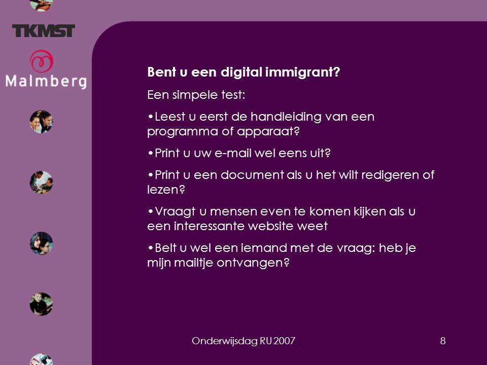 Onderwijsdag RU 20078 Bent u een digital immigrant.