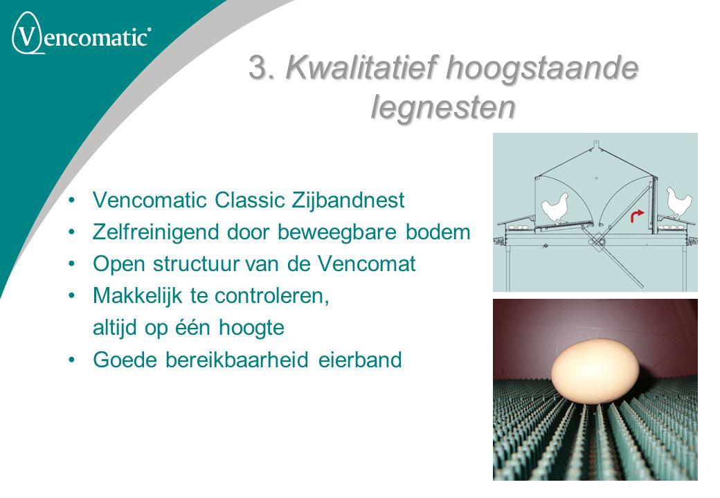 3. Kwalitatief hoogstaande legnesten Vencomatic Classic Zijbandnest Zelfreinigend door beweegbare bodem Open structuur van de Vencomat Makkelijk te co