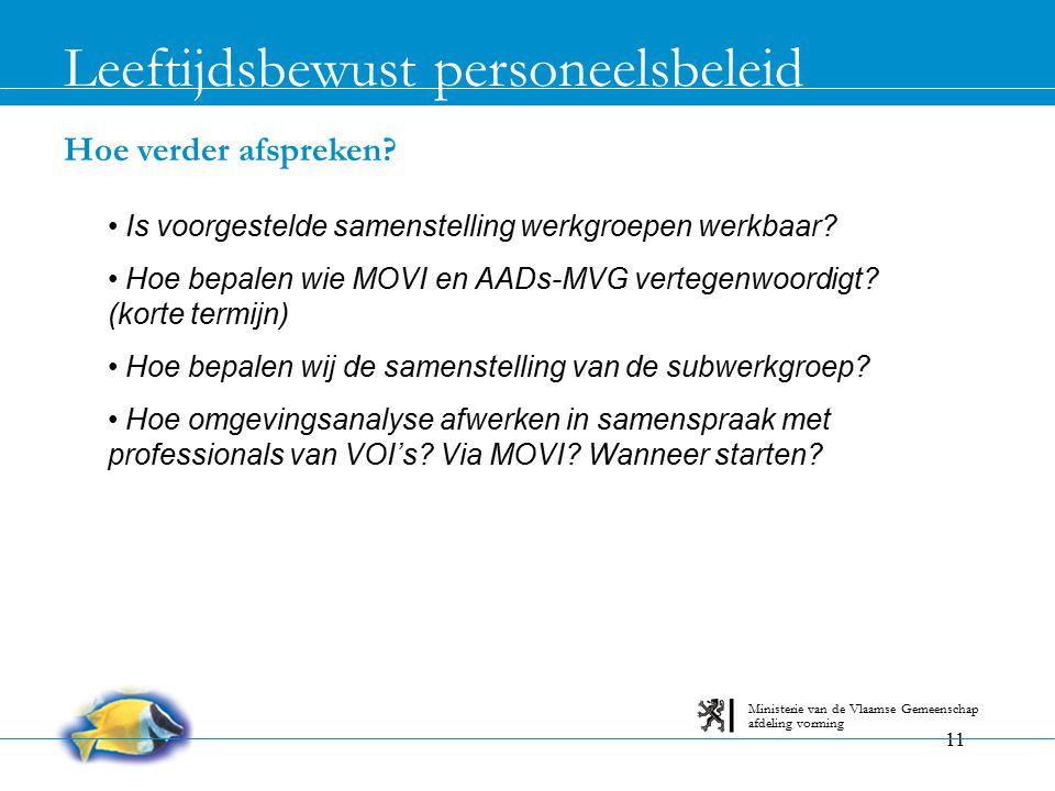 11 Hoe verder afspreken? Leeftijdsbewust personeelsbeleid afdeling vorming Ministerie van de Vlaamse Gemeenschap Is voorgestelde samenstelling werkgro