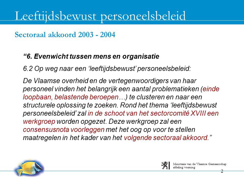 """2 Sectoraal akkoord 2003 - 2004 Leeftijdsbewust personeelsbeleid afdeling vorming Ministerie van de Vlaamse Gemeenschap """"6. Evenwicht tussen mens en o"""