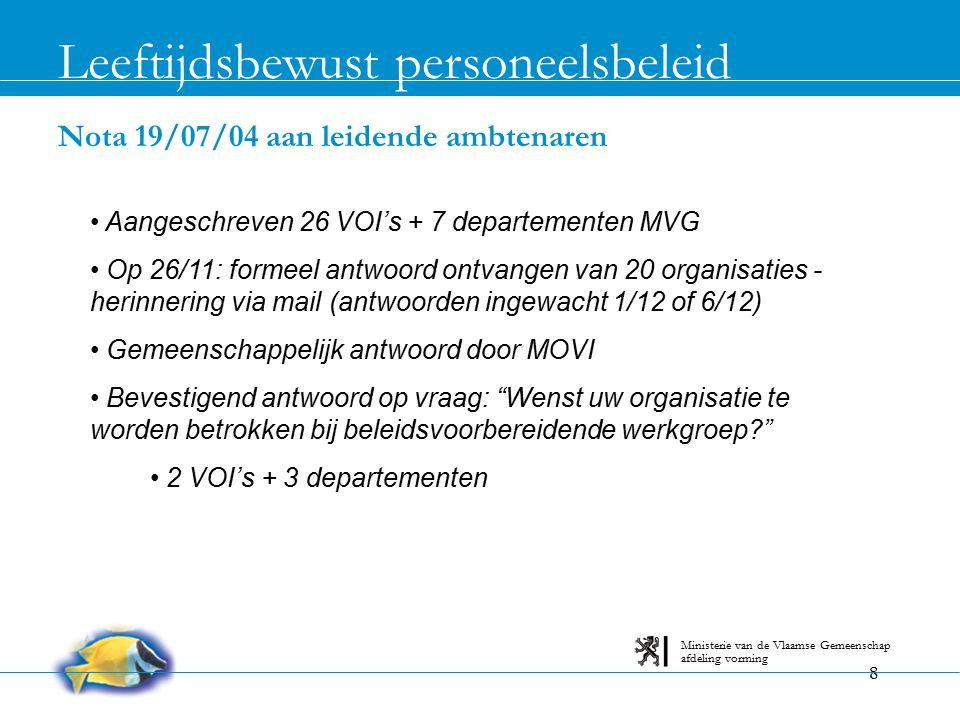 8 Nota 19/07/04 aan leidende ambtenaren Leeftijdsbewust personeelsbeleid afdeling vorming Ministerie van de Vlaamse Gemeenschap Aangeschreven 26 VOI's