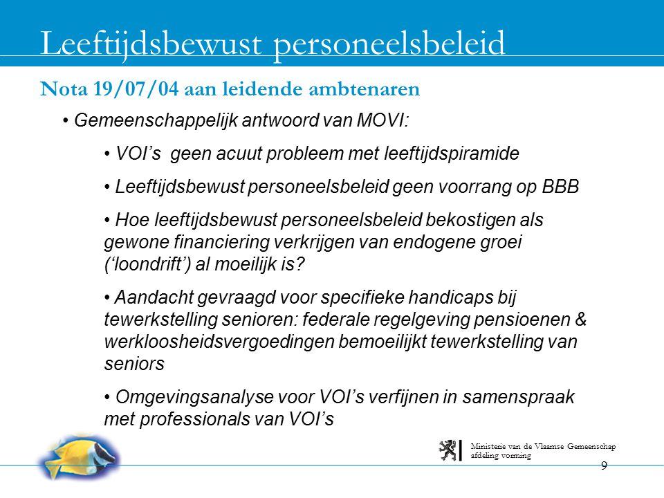 9 Nota 19/07/04 aan leidende ambtenaren Leeftijdsbewust personeelsbeleid afdeling vorming Ministerie van de Vlaamse Gemeenschap Gemeenschappelijk antw
